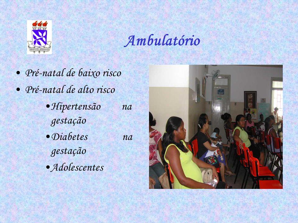 Pré-natal de baixo risco Pré-natal de alto risco Hipertensão na gestação Diabetes na gestação Adolescentes Ambulatório