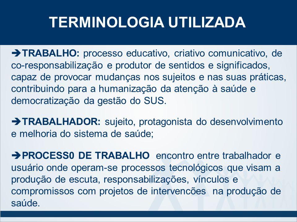 TRABALHO: processo educativo, criativo comunicativo, de co-responsabilização e produtor de sentidos e significados, capaz de provocar mudanças nos suj
