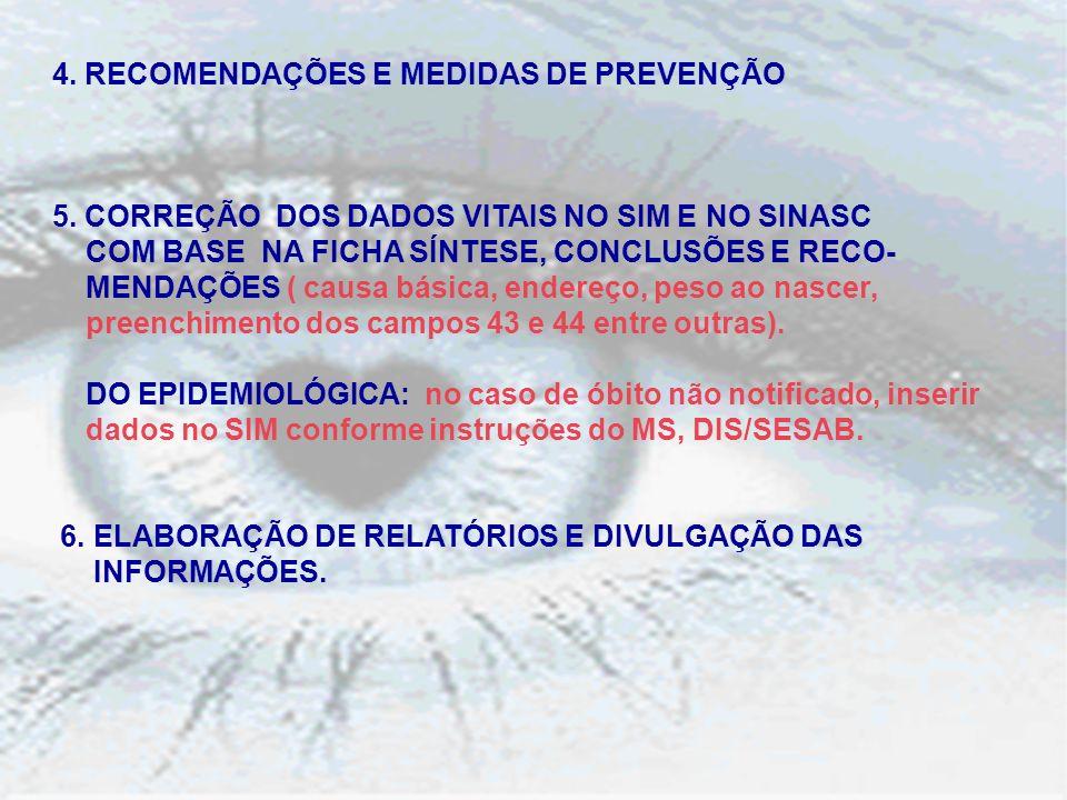 4.RECOMENDAÇÕES E MEDIDAS DE PREVENÇÃO 5.