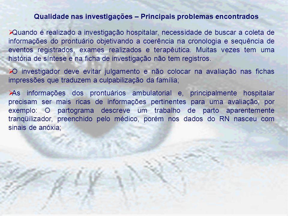 Qualidade nas investigações – Principais problemas encontrados Quando é realizado a investigação hospitalar, necessidade de buscar a coleta de informa