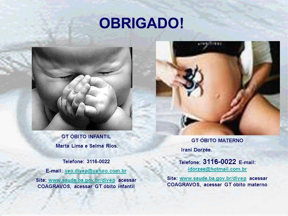 OBRIGADO! GT ÓBITO INFANTIL Marta Lima e Selma Rios. Telefone: 3116-0022 E-mail: veo.divep@yahoo.com.brveo.divep@yahoo.com.br Site: www.saude.ba.gov.b