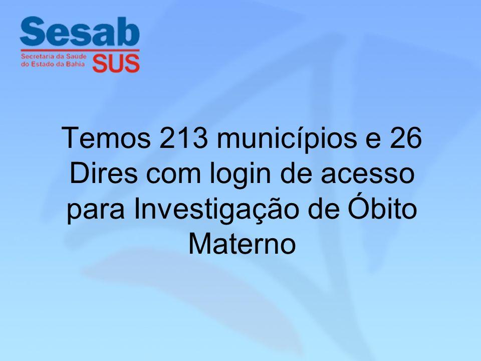 Temos 213 municípios e 26 Dires com login de acesso para Investigação de Óbito Materno