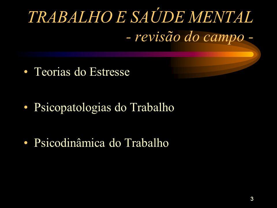 3 TRABALHO E SAÚDE MENTAL - revisão do campo - Teorias do Estresse Psicopatologias do Trabalho Psicodinâmica do Trabalho