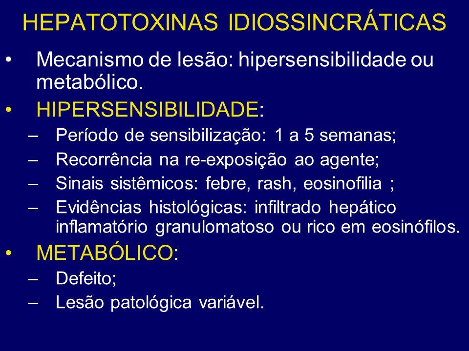 HEPATOTOXINAS IDIOSSINCRÁTICAS Mecanismo de lesão: hipersensibilidade ou metabólico. HIPERSENSIBILIDADE: –Período de sensibilização: 1 a 5 semanas; –R
