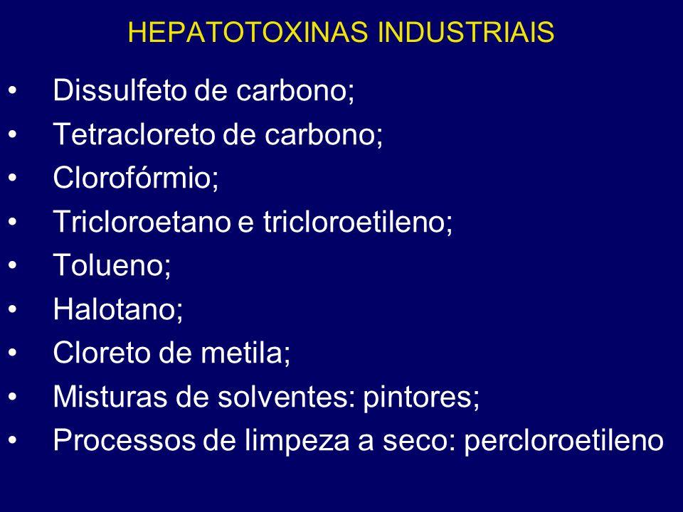 HEPATOTOXINAS INDUSTRIAIS Dissulfeto de carbono; Tetracloreto de carbono; Clorofórmio; Tricloroetano e tricloroetileno; Tolueno; Halotano; Cloreto de