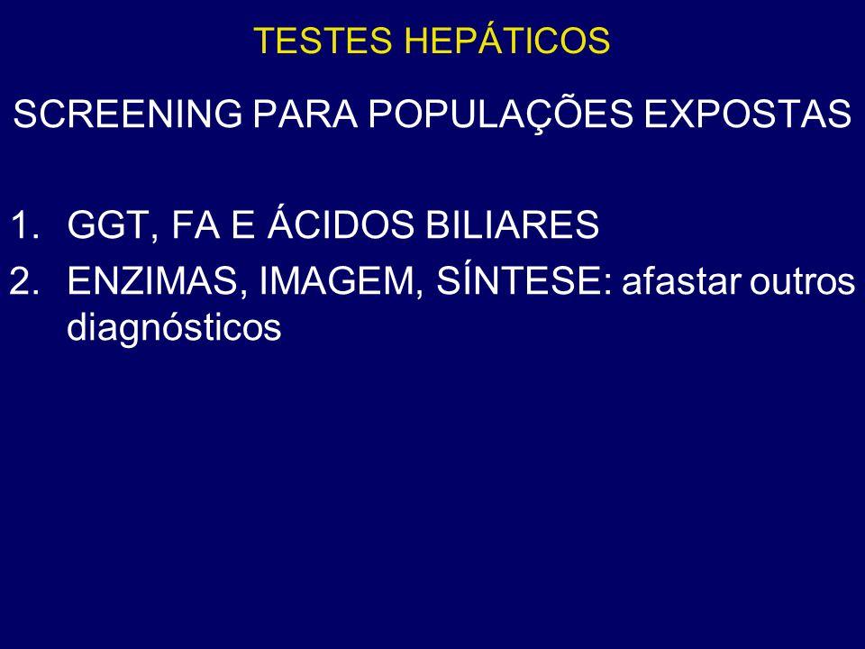 TESTES HEPÁTICOS SCREENING PARA POPULAÇÕES EXPOSTAS 1.GGT, FA E ÁCIDOS BILIARES 2.ENZIMAS, IMAGEM, SÍNTESE: afastar outros diagnósticos