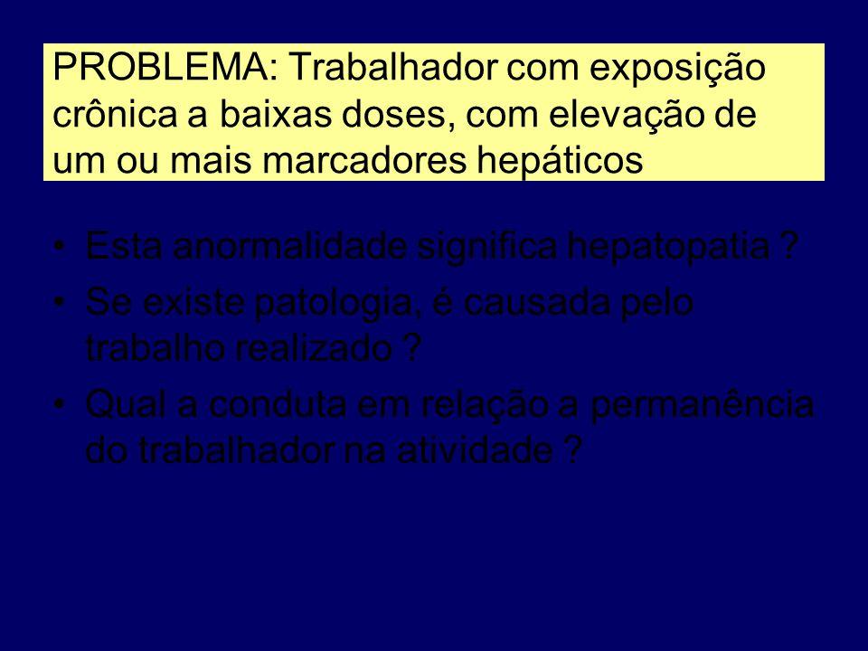 PROBLEMA: Trabalhador com exposição crônica a baixas doses, com elevação de um ou mais marcadores hepáticos Esta anormalidade significa hepatopatia ?