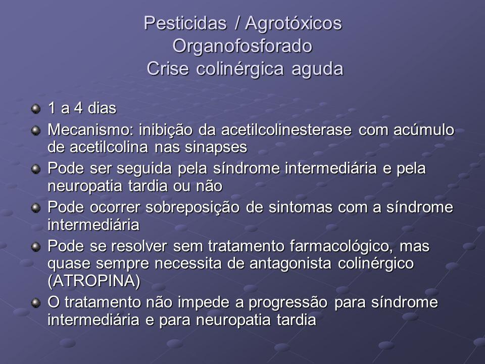 Pesticidas / Agrotóxicos Organofosforado Crise colinérgica aguda 1 a 4 dias Mecanismo: inibição da acetilcolinesterase com acúmulo de acetilcolina nas