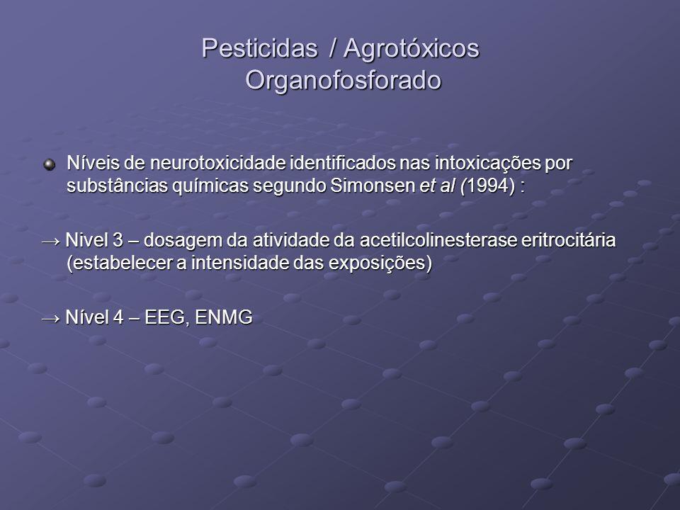 Pesticidas / Agrotóxicos Organofosforado Níveis de neurotoxicidade identificados nas intoxicações por substâncias químicas segundo Simonsen et al (199