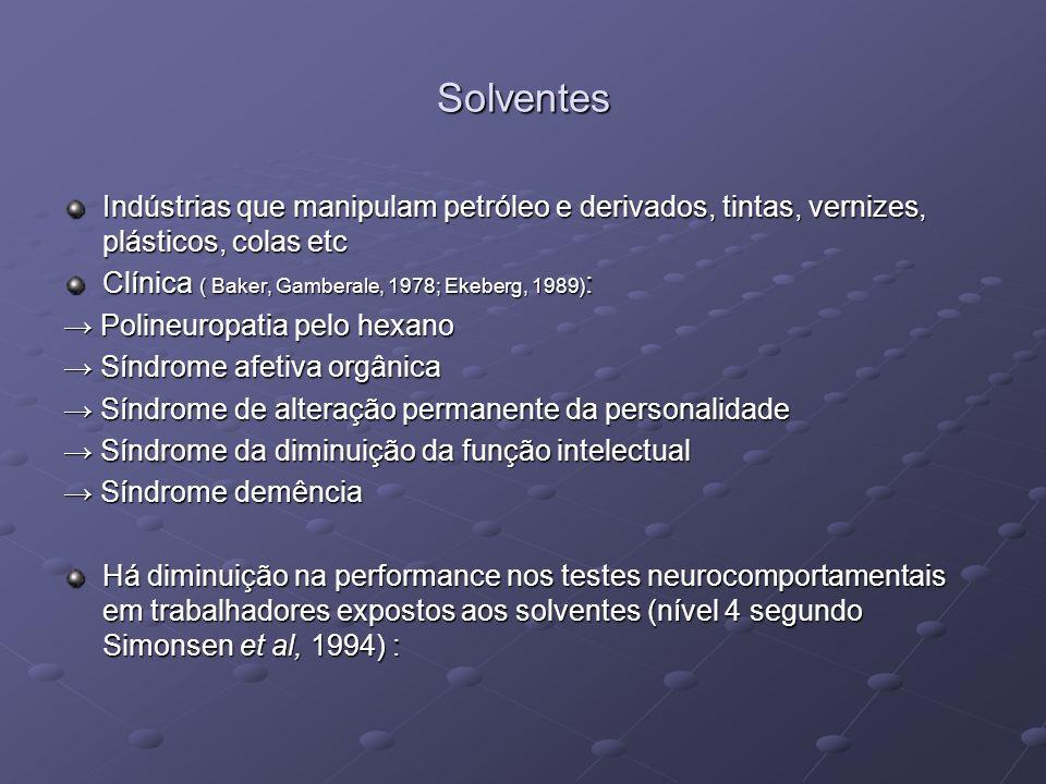 Solventes Indústrias que manipulam petróleo e derivados, tintas, vernizes, plásticos, colas etc Clínica ( Baker, Gamberale, 1978; Ekeberg, 1989) : Pol