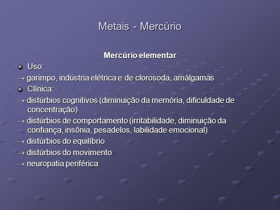 Metais - Mercúrio Mercúrio elementar Uso: garimpo, indústria elétrica e de clorosoda, amálgamas garimpo, indústria elétrica e de clorosoda, amálgamasC