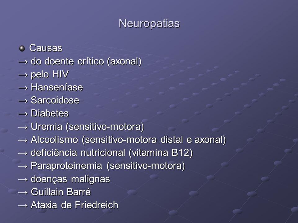 Neuropatias Causas tóxica (axonal) tóxica (axonal) Pesticidas Pesticidas Solventes Solventes Dissulfeto de carbono Dissulfeto de carbono Metais (arsênico, chumbo, mercúrio, talio) Metais (arsênico, chumbo, mercúrio, talio) Drogas (nitrofurantoína, fenitoína, isoniazida, vincristina, piridoxina em altas doses) Drogas (nitrofurantoína, fenitoína, isoniazida, vincristina, piridoxina em altas doses)