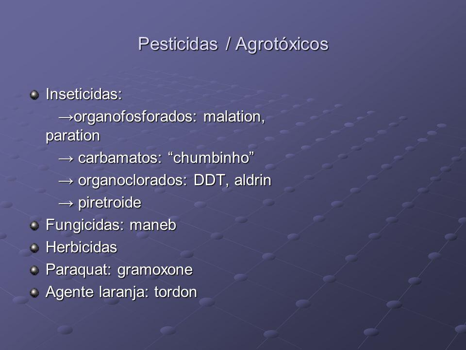 Pesticidas / Agrotóxicos Inseticidas: organofosforados: malation, paration organofosforados: malation, paration carbamatos: chumbinho carbamatos: chum