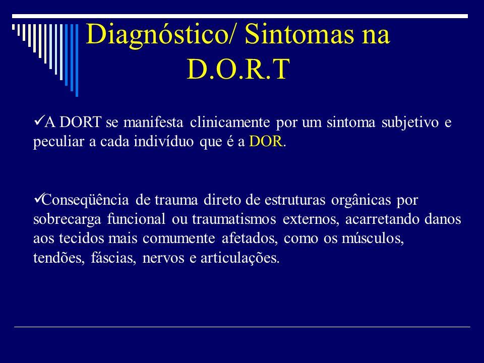 A DORT se manifesta clinicamente por um sintoma subjetivo e peculiar a cada indivíduo que é a DOR. Conseqüência de trauma direto de estruturas orgânic