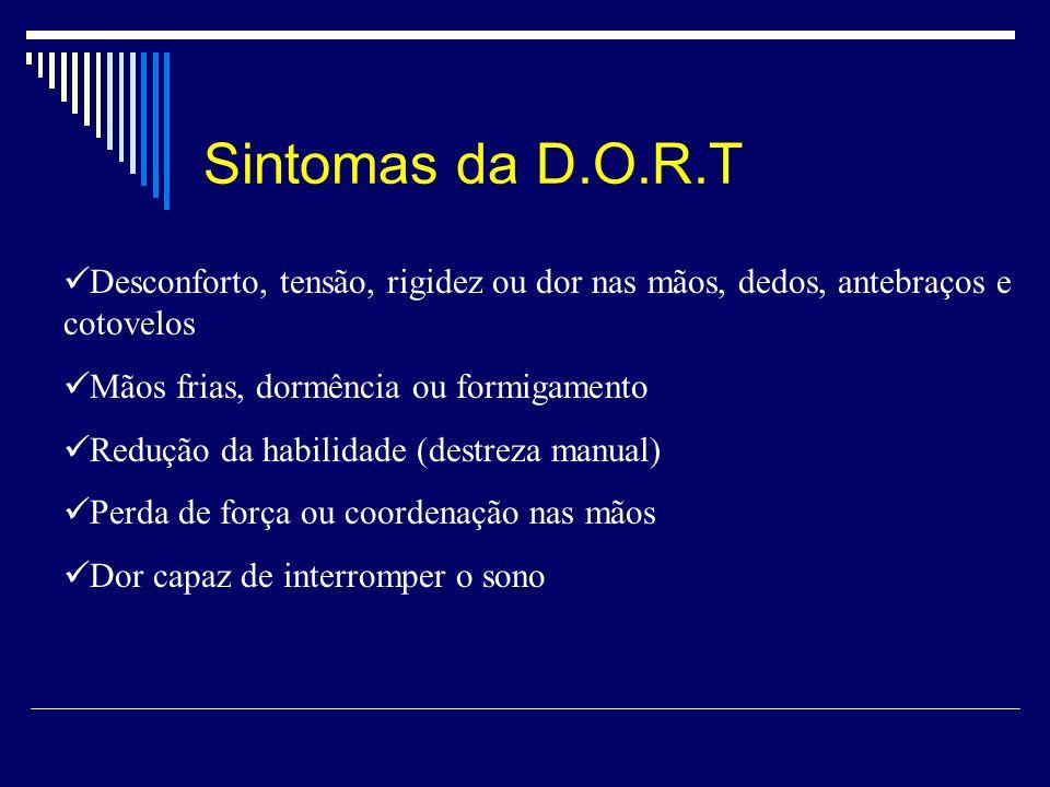 Sintomas da D.O.R.T Desconforto, tensão, rigidez ou dor nas mãos, dedos, antebraços e cotovelos Mãos frias, dormência ou formigamento Redução da habil