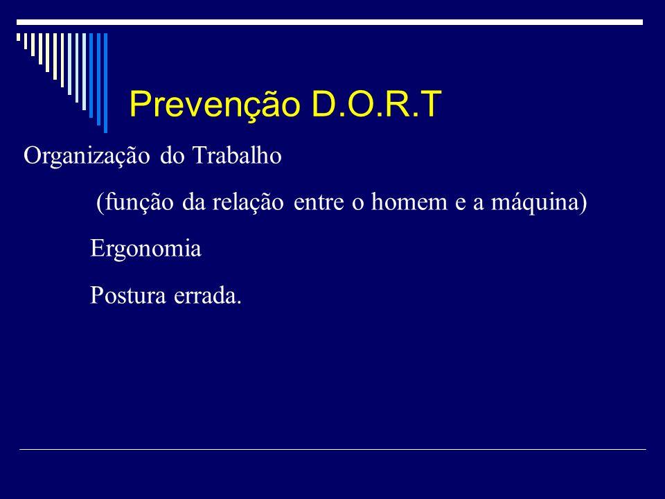 Prevenção D.O.R.T Organização do Trabalho (função da relação entre o homem e a máquina) Ergonomia Postura errada.