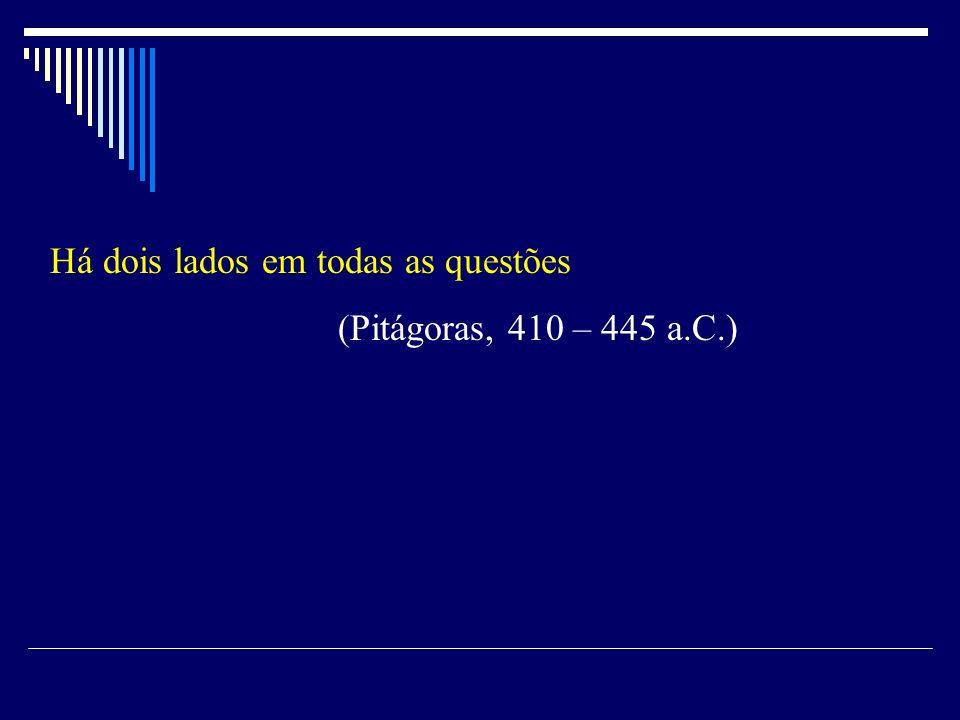 Há dois lados em todas as questões (Pitágoras, 410 – 445 a.C.)