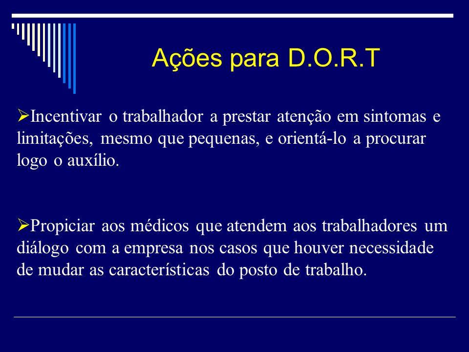 Ações para D.O.R.T Incentivar o trabalhador a prestar atenção em sintomas e limitações, mesmo que pequenas, e orientá-lo a procurar logo o auxílio. Pr