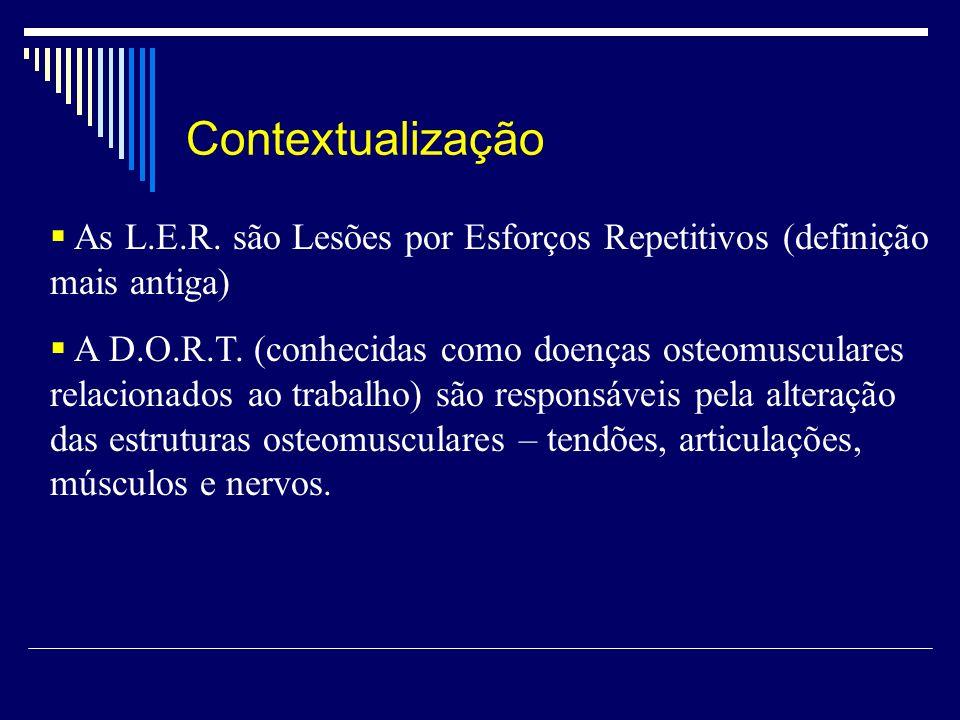 Contextualização As L.E.R. são Lesões por Esforços Repetitivos (definição mais antiga) A D.O.R.T. (conhecidas como doenças osteomusculares relacionado