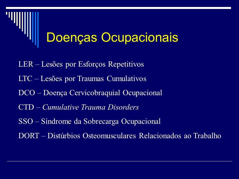 Doenças Ocupacionais LER – Lesões por Esforços Repetitivos LTC – Lesões por Traumas Cumulativos DCO – Doença Cervicobraquial Ocupacional CTD – Cumulat
