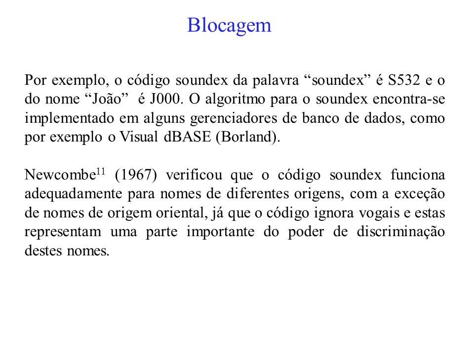 Blocagem Por exemplo, o código soundex da palavra soundex é S532 e o do nome João é J000.