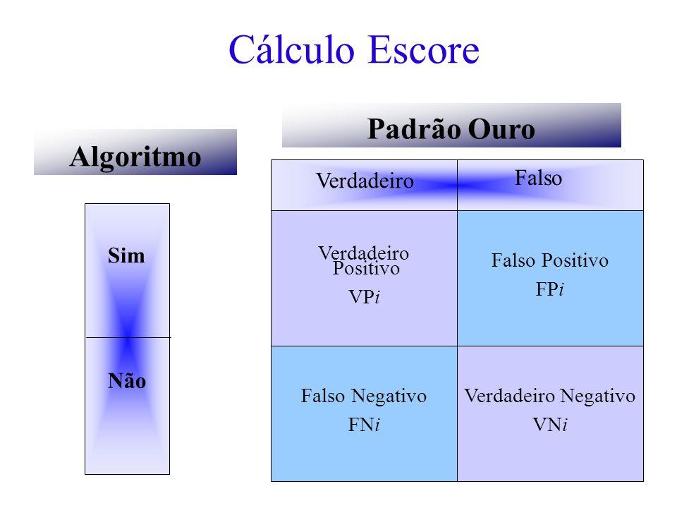 Cálculo Escore Sim Não Algoritmo Padrão Ouro Verdadeiro Falso Verdadeiro Positivo VPi Falso Negativo FNi Falso Positivo FPi Verdadeiro Negativo VNi