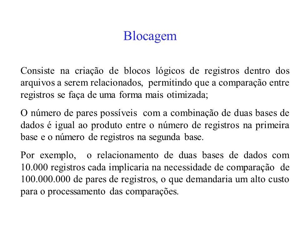 Blocagem Consiste na criação de blocos lógicos de registros dentro dos arquivos a serem relacionados, permitindo que a comparação entre registros se faça de uma forma mais otimizada; O número de pares possíveis com a combinação de duas bases de dados é igual ao produto entre o número de registros na primeira base e o número de registros na segunda base.