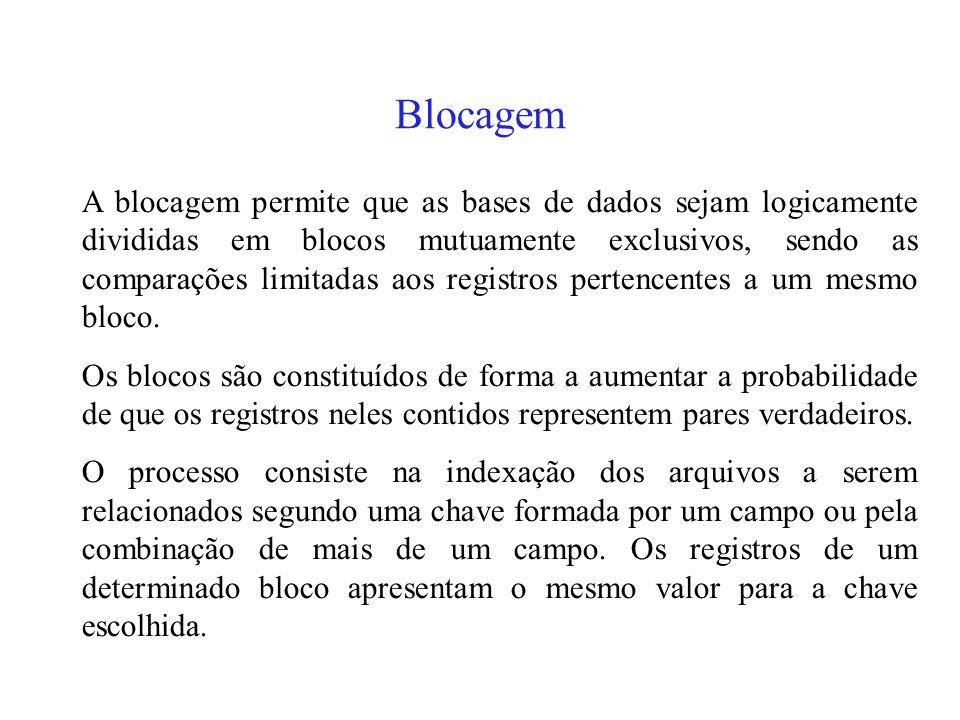 Blocagem A blocagem permite que as bases de dados sejam logicamente divididas em blocos mutuamente exclusivos, sendo as comparações limitadas aos registros pertencentes a um mesmo bloco.