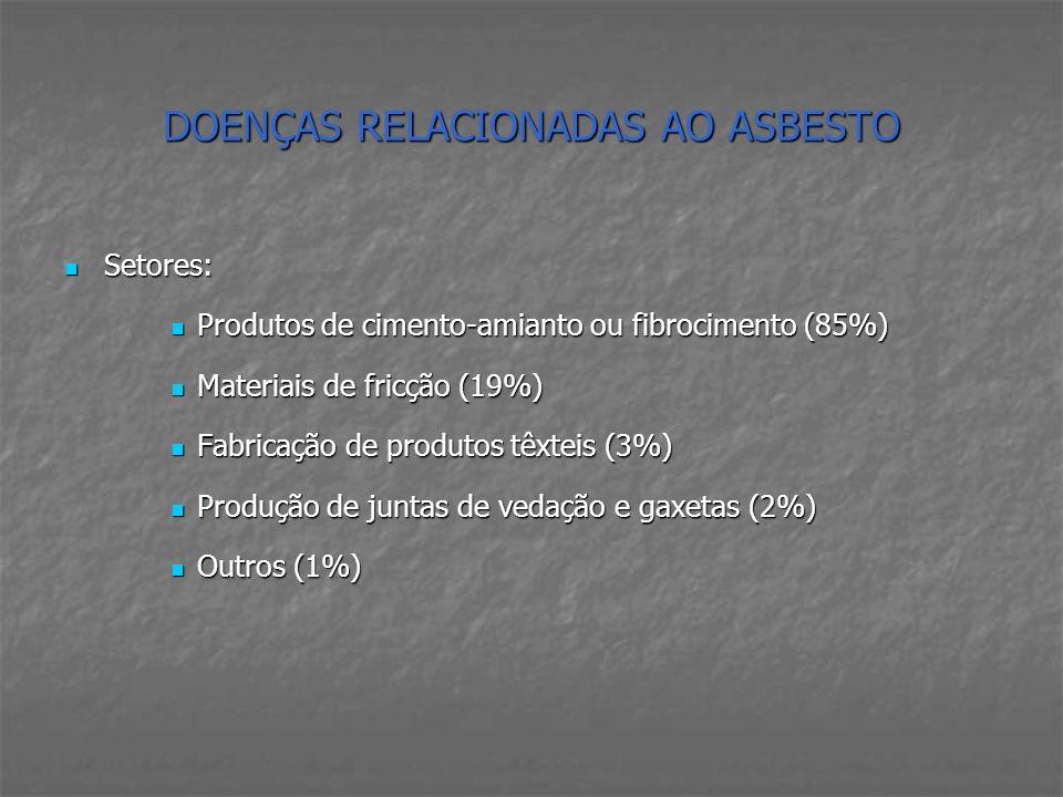 DOENÇAS RELACIONADAS AO ASBESTO Setores: Setores: Produtos de cimento-amianto ou fibrocimento (85%) Produtos de cimento-amianto ou fibrocimento (85%)