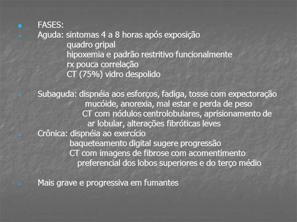 FASES: Aguda: sintomas 4 a 8 horas após exposição quadro gripal hipoxemia e padrão restritivo funcionalmente rx pouca correlação CT (75%) vidro despol
