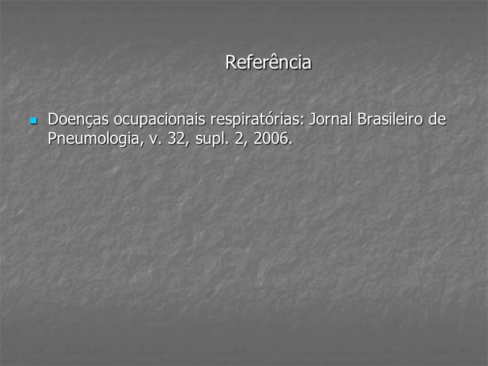 Referência Doenças ocupacionais respiratórias: Jornal Brasileiro de Pneumologia, v. 32, supl. 2, 2006. Doenças ocupacionais respiratórias: Jornal Bras