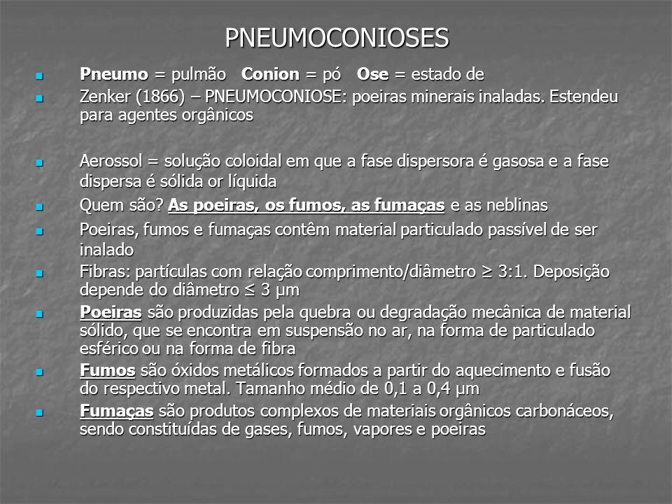 PNEUMOCONIOSES Pneumo = pulmão Conion = pó Ose = estado de Pneumo = pulmão Conion = pó Ose = estado de Zenker (1866) – PNEUMOCONIOSE: poeiras minerais