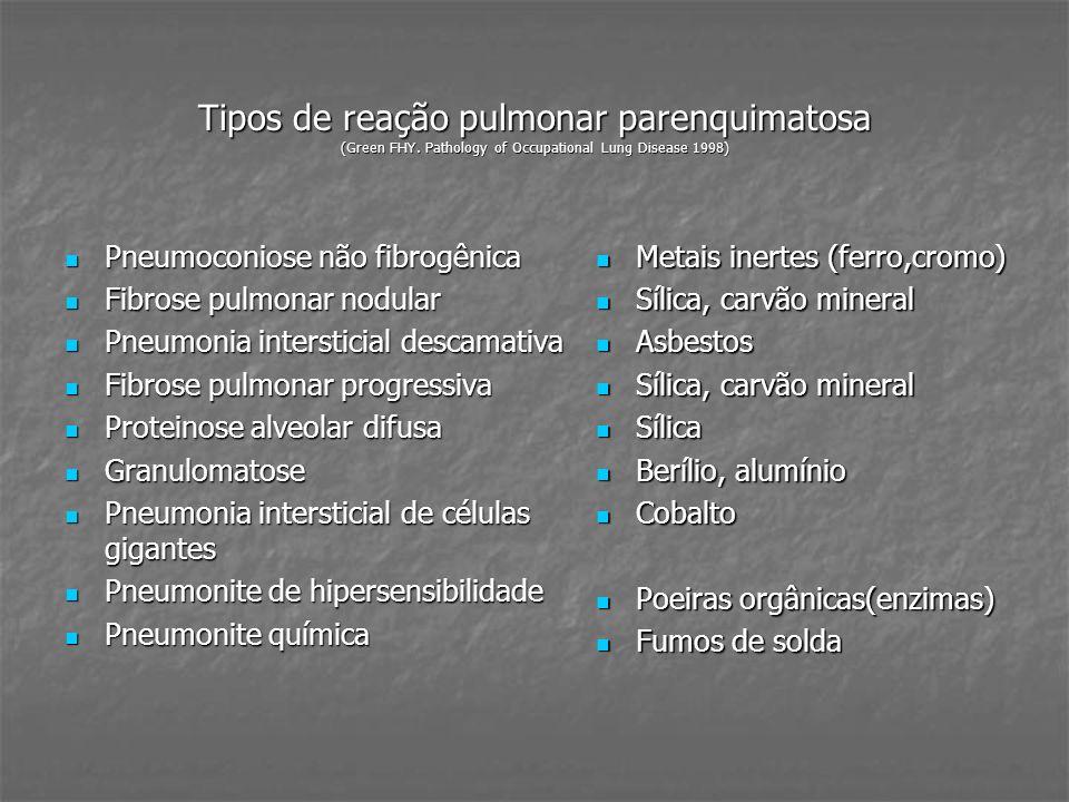Tipos de reação pulmonar parenquimatosa (Green FHY. Pathology of Occupational Lung Disease 1998) Pneumoconiose não fibrogênica Pneumoconiose não fibro
