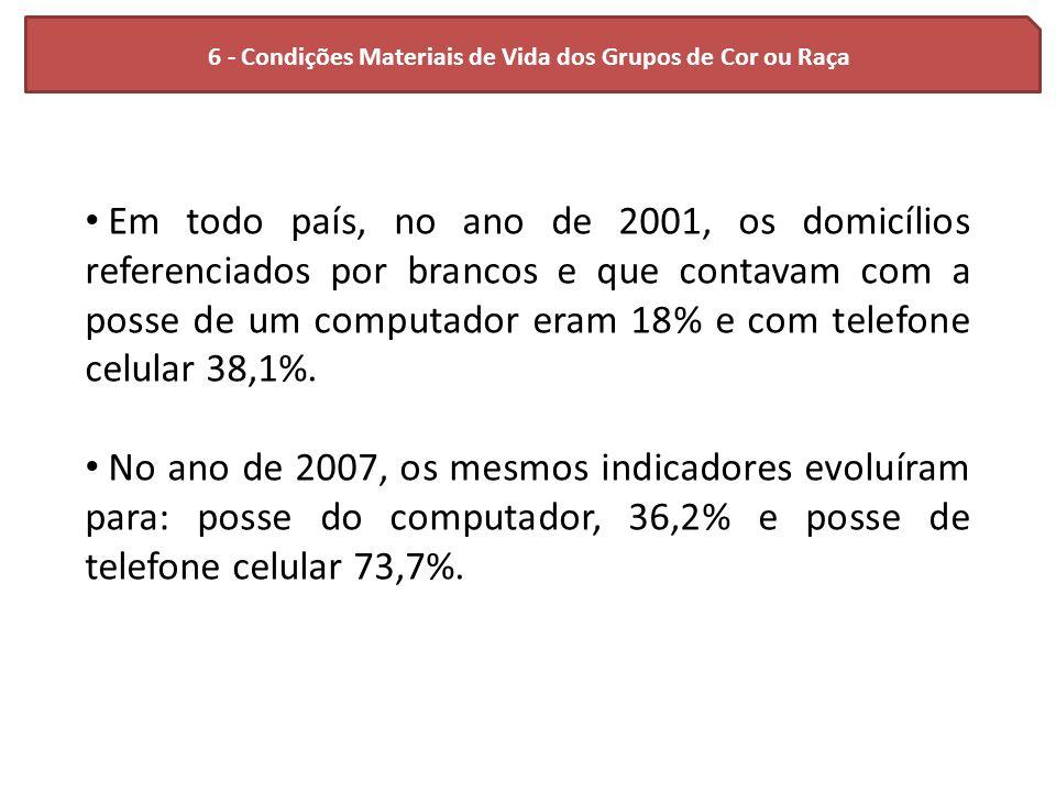6 - Condições Materiais de Vida dos Grupos de Cor ou Raça Em todo país, no ano de 2001, os domicílios referenciados por brancos e que contavam com a p