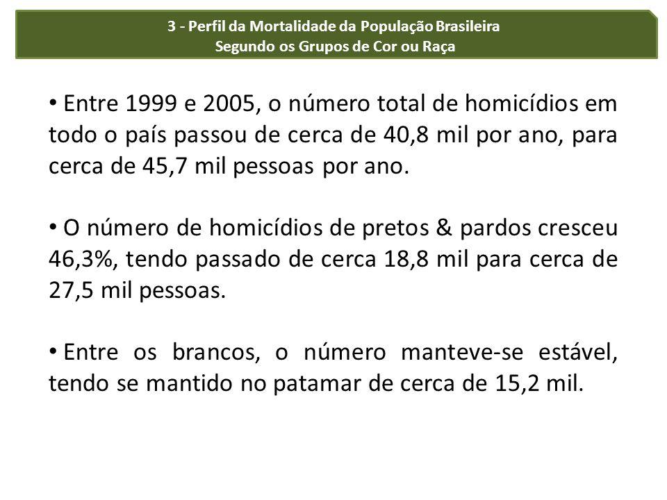 3 - Perfil da Mortalidade da População Brasileira Segundo os Grupos de Cor ou Raça Entre 1999 e 2005, o número total de homicídios em todo o país pass