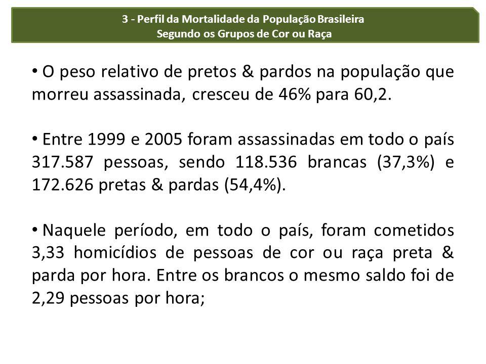3 - Perfil da Mortalidade da População Brasileira Segundo os Grupos de Cor ou Raça O peso relativo de pretos & pardos na população que morreu assassin