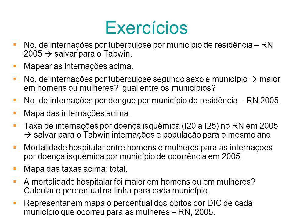 Exercícios No. de internações por tuberculose por município de residência – RN 2005 salvar para o Tabwin. Mapear as internações acima. No. de internaç