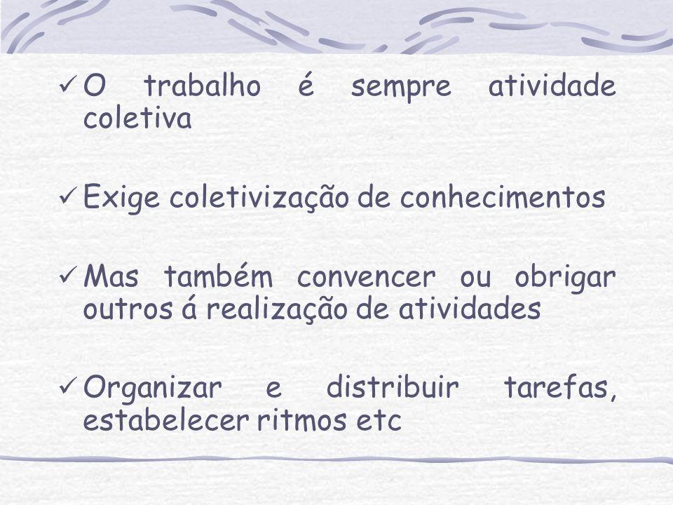 O trabalho é sempre atividade coletiva Exige coletivização de conhecimentos Mas também convencer ou obrigar outros á realização de atividades Organiza