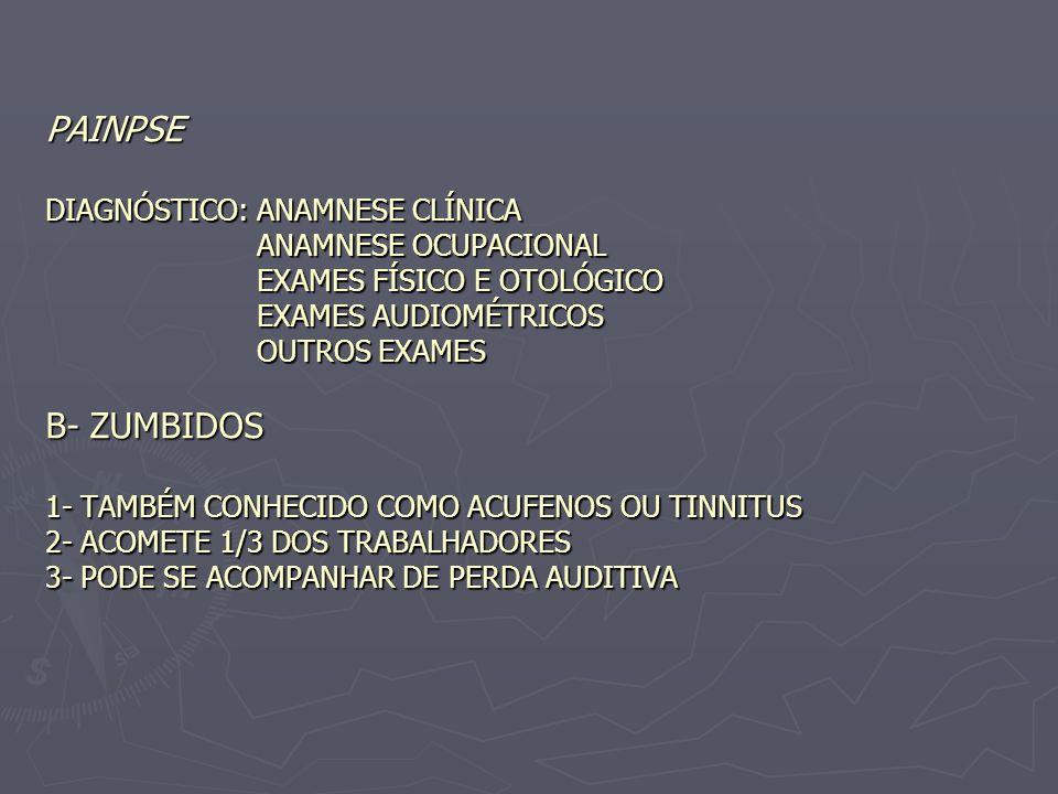 PAINPSE DIAGNÓSTICO: ANAMNESE CLÍNICA ANAMNESE OCUPACIONAL EXAMES FÍSICO E OTOLÓGICO EXAMES AUDIOMÉTRICOS OUTROS EXAMES B- ZUMBIDOS 1- TAMBÉM CONHECID