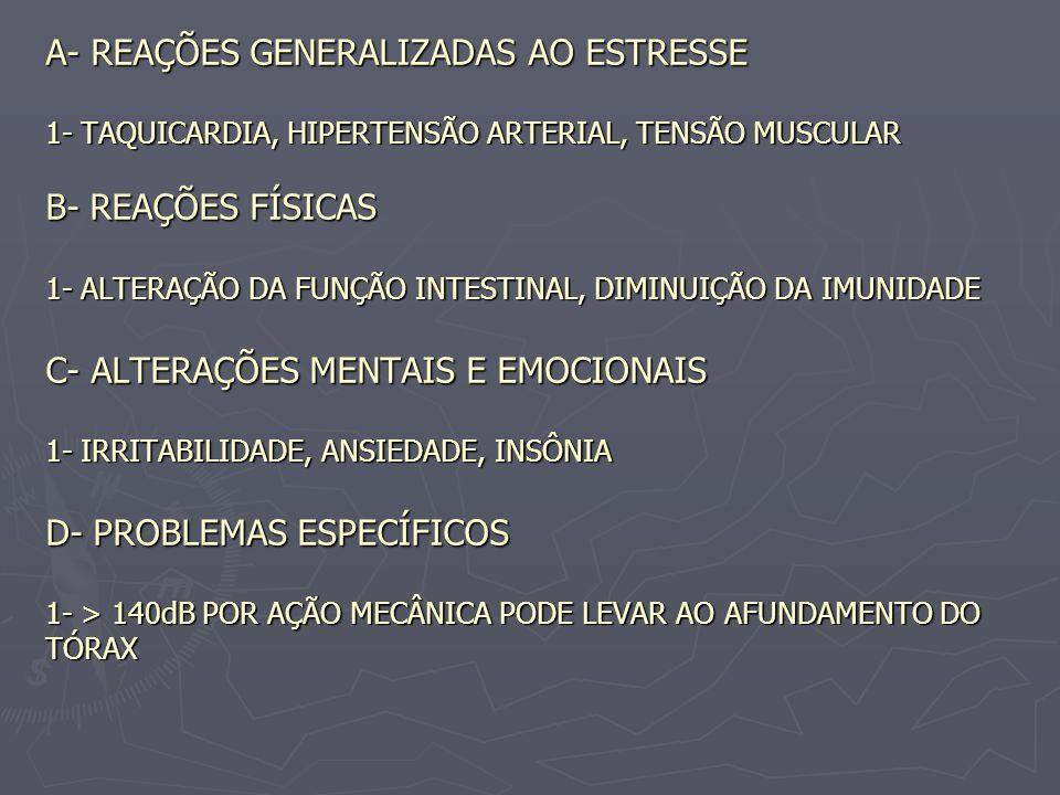 A- REAÇÕES GENERALIZADAS AO ESTRESSE 1- TAQUICARDIA, HIPERTENSÃO ARTERIAL, TENSÃO MUSCULAR B- REAÇÕES FÍSICAS 1- ALTERAÇÃO DA FUNÇÃO INTESTINAL, DIMIN