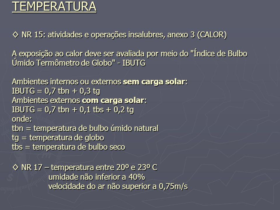 TEMPERATURA NR 15: atividades e operações insalubres, anexo 3 (CALOR) A exposição ao calor deve ser avaliada por meio do