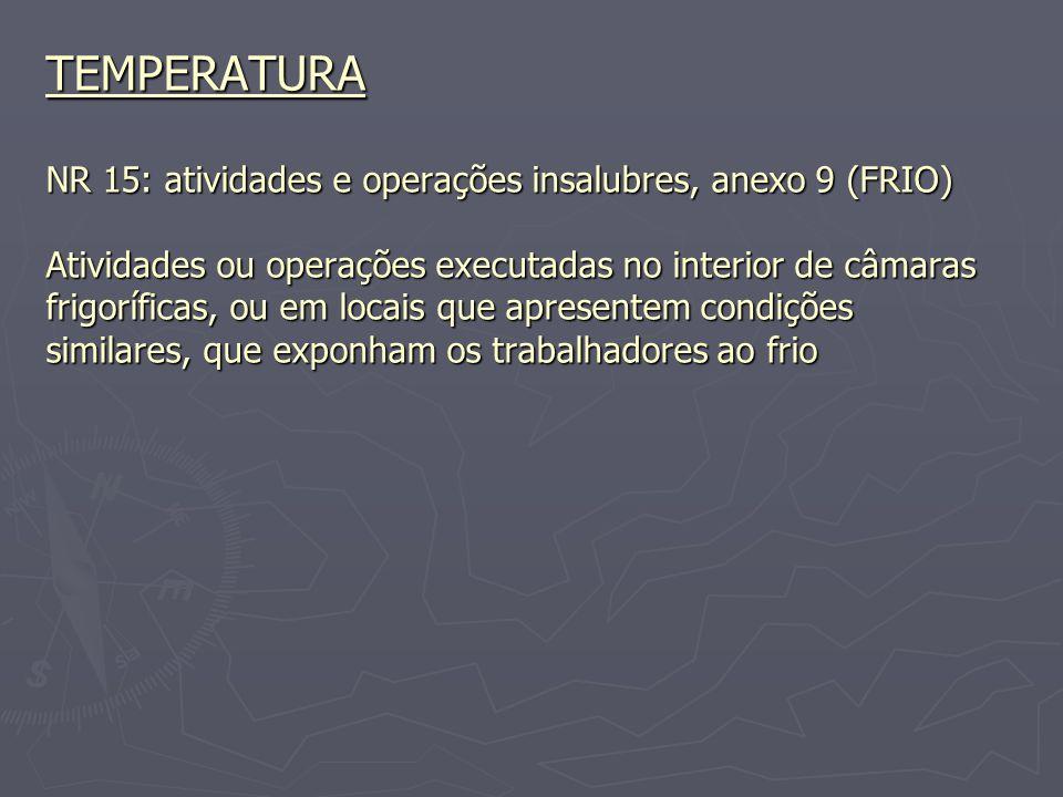 TEMPERATURA NR 15: atividades e operações insalubres, anexo 9 (FRIO) Atividades ou operações executadas no interior de câmaras frigoríficas, ou em loc