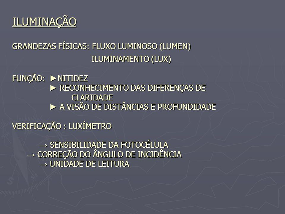 ILUMINAÇÃO GRANDEZAS FÍSICAS: FLUXO LUMINOSO (LUMEN) ILUMINAMENTO (LUX) FUNÇÃO: NITIDEZ RECONHECIMENTO DAS DIFERENÇAS DE CLARIDADE A VISÃO DE DISTÂNCI