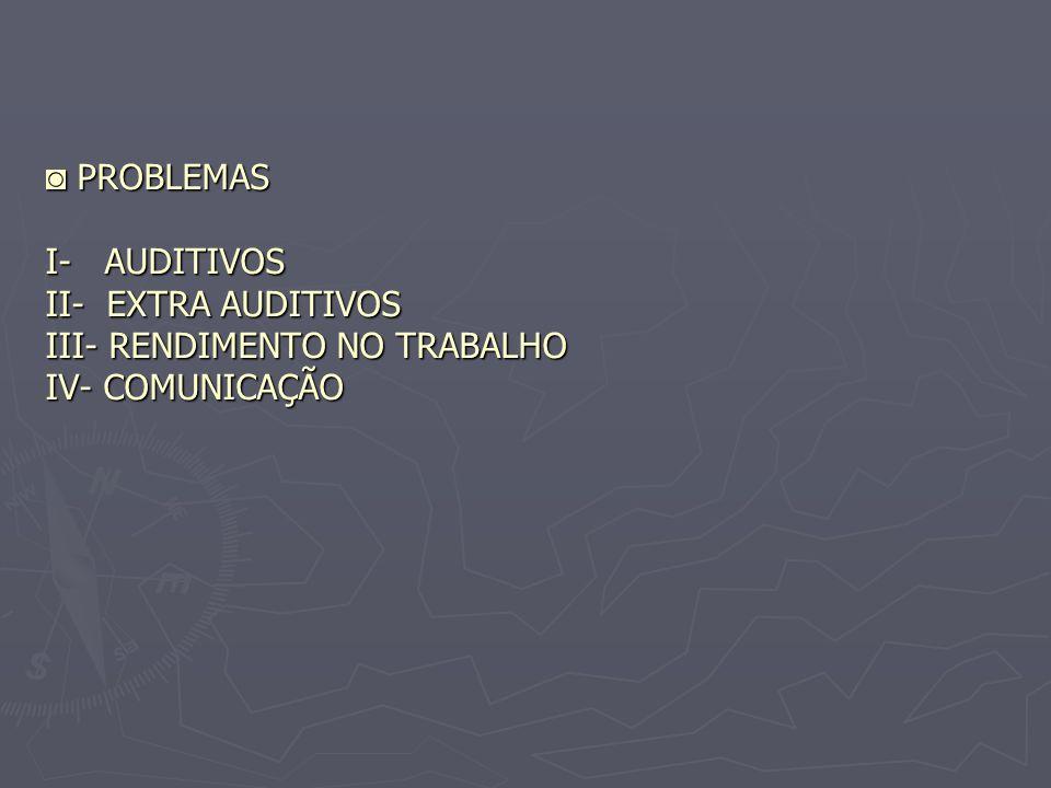PROBLEMAS I- AUDITIVOS II- EXTRA AUDITIVOS III- RENDIMENTO NO TRABALHO IV- COMUNICAÇÃO PROBLEMAS I- AUDITIVOS II- EXTRA AUDITIVOS III- RENDIMENTO NO T