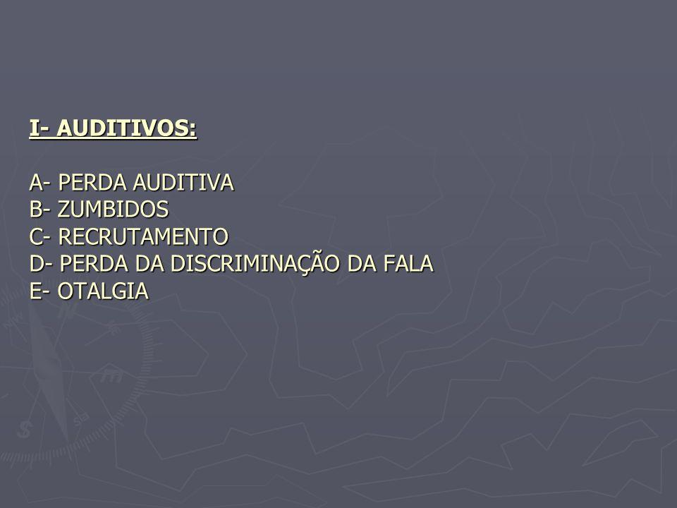I- AUDITIVOS: A- PERDA AUDITIVA B- ZUMBIDOS C- RECRUTAMENTO D- PERDA DA DISCRIMINAÇÃO DA FALA E- OTALGIA