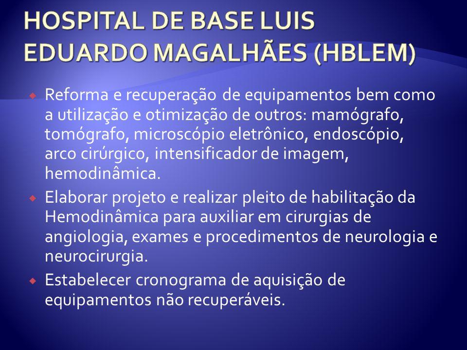Reforma e recuperação de equipamentos bem como a utilização e otimização de outros: mamógrafo, tomógrafo, microscópio eletrônico, endoscópio, arco cirúrgico, intensificador de imagem, hemodinâmica.