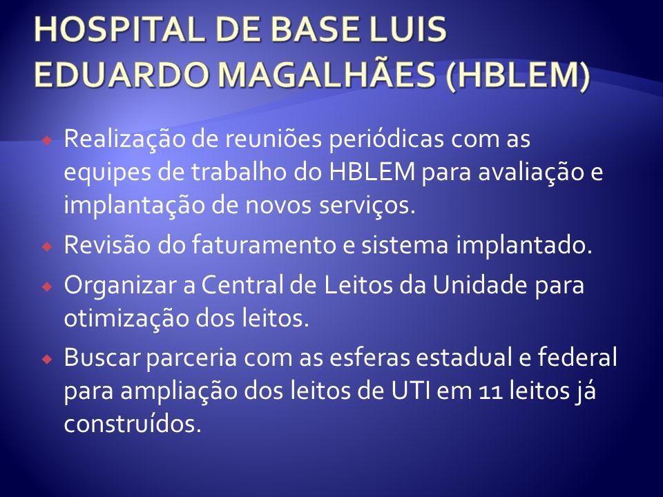 Realização de reuniões periódicas com as equipes de trabalho do HBLEM para avaliação e implantação de novos serviços. Revisão do faturamento e sistema