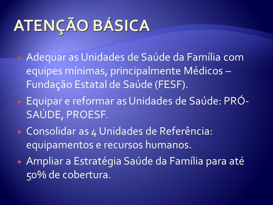 Adequar as Unidades de Saúde da Família com equipes mínimas, principalmente Médicos – Fundação Estatal de Saúde (FESF).