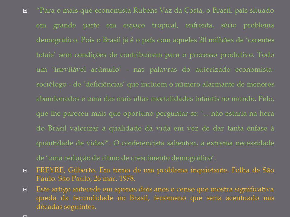 Para o mais-que-economista Rubens Vaz da Costa, o Brasil, país situado em grande parte em espaço tropical, enfrenta, sério problema demográfico. Pois