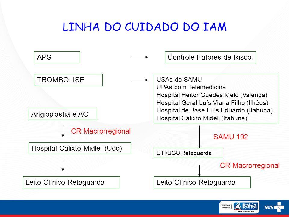 LINHA DO CUIDADO DO IAM APSControle Fatores de Risco TROMBÓLISE USAs do SAMU UPAs com Telemedicina Hospital Heitor Guedes Melo (Valença) Hospital Gera